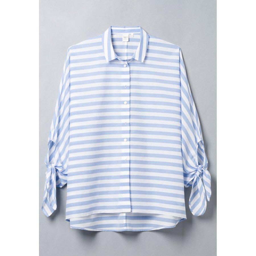 Голубая женская блуза в полоску  ETERNA 6125/12/RS29/B/NOS хлопок