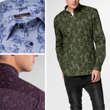 Камуфляж, «огурцы», флористика – как носить принтованные сорочки