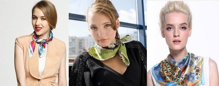 как завязать шейный платок женский